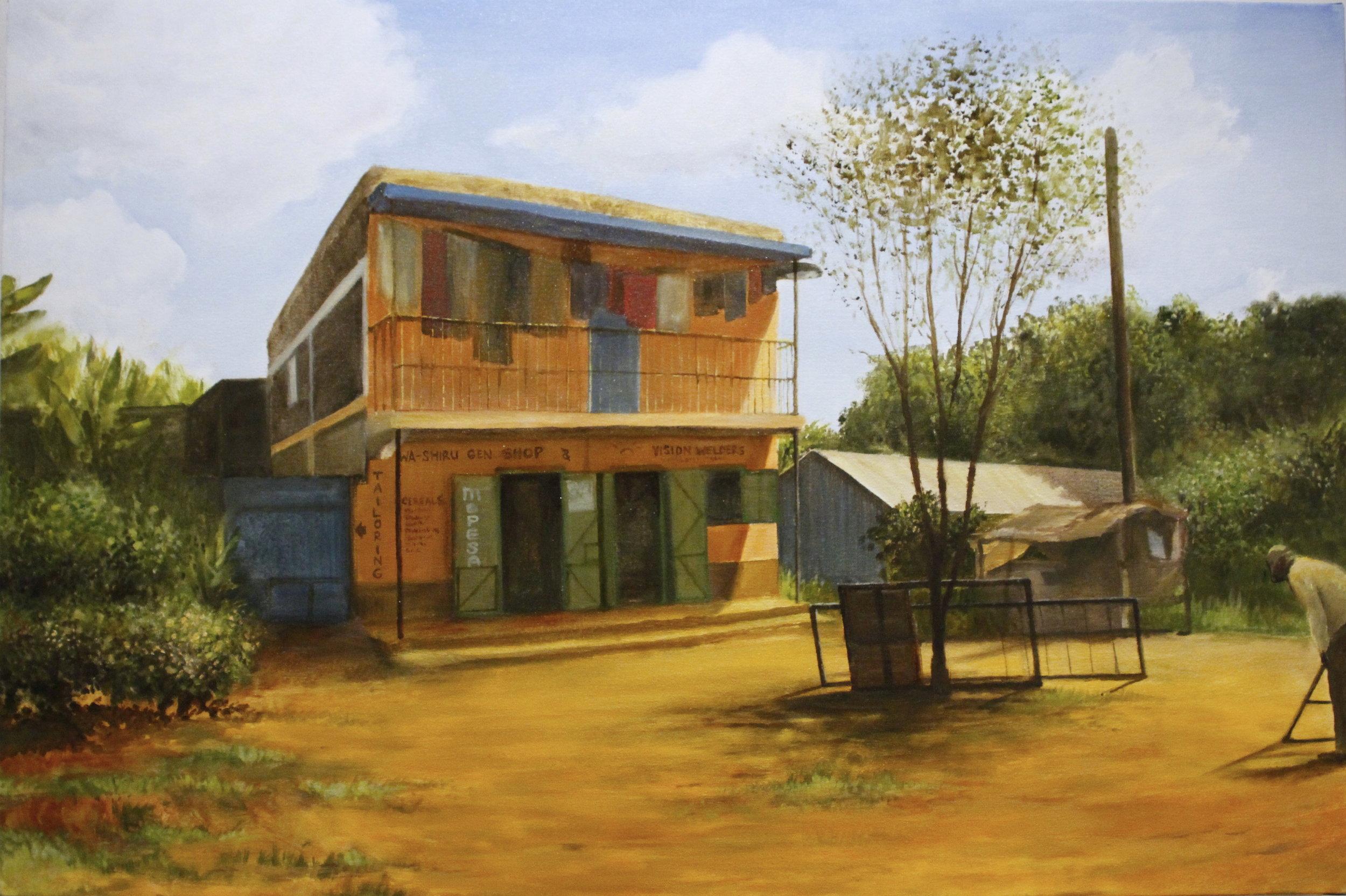 "Banana Hill, Kenya,  2016, oil on canvas, 24"" x 36"""