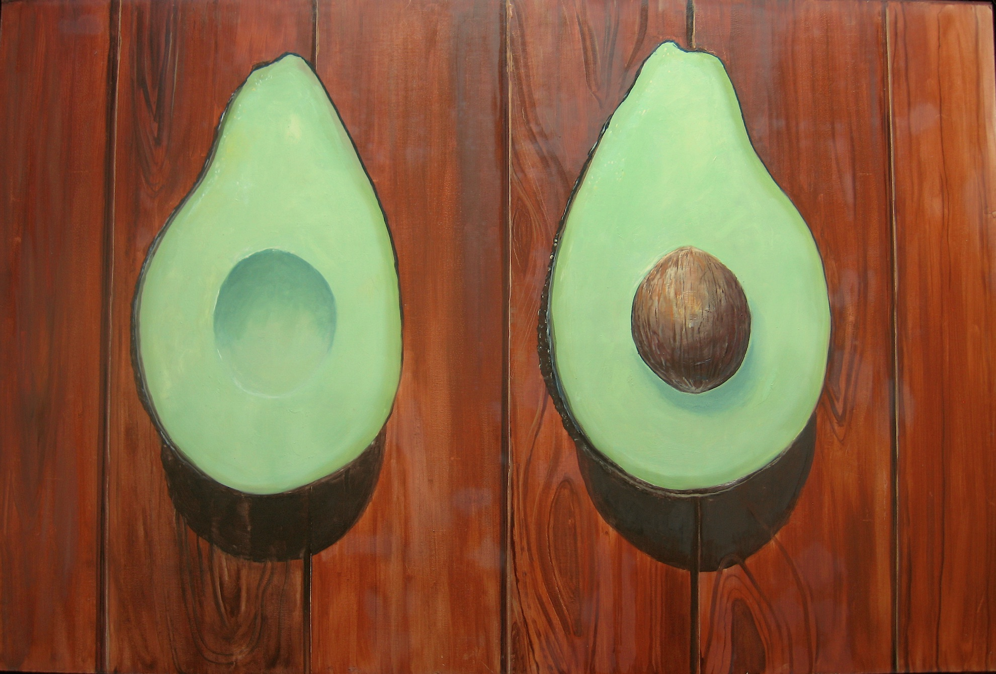 "Avocado Diptych, 2015, oil on panel, 24"" x 36"""
