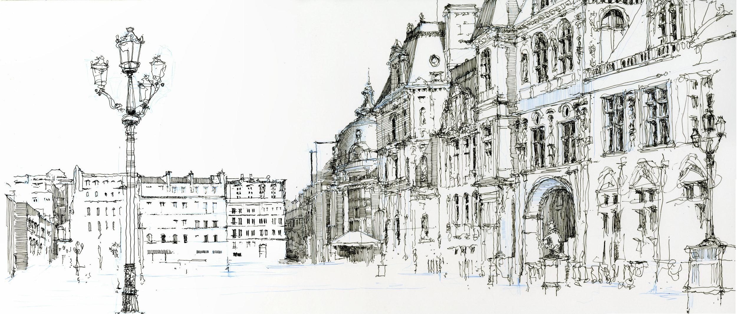 "Hotel de Ville, 2016, ink on paper, 12"" x 26"""