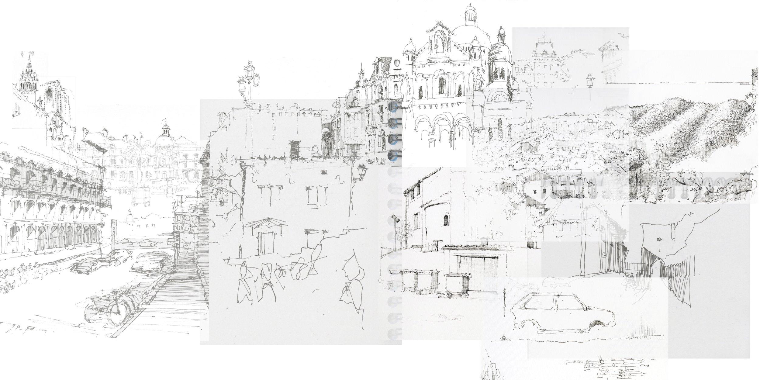 """Sketch Compilation I, 2016, digital, 20"""" x 40"""""""