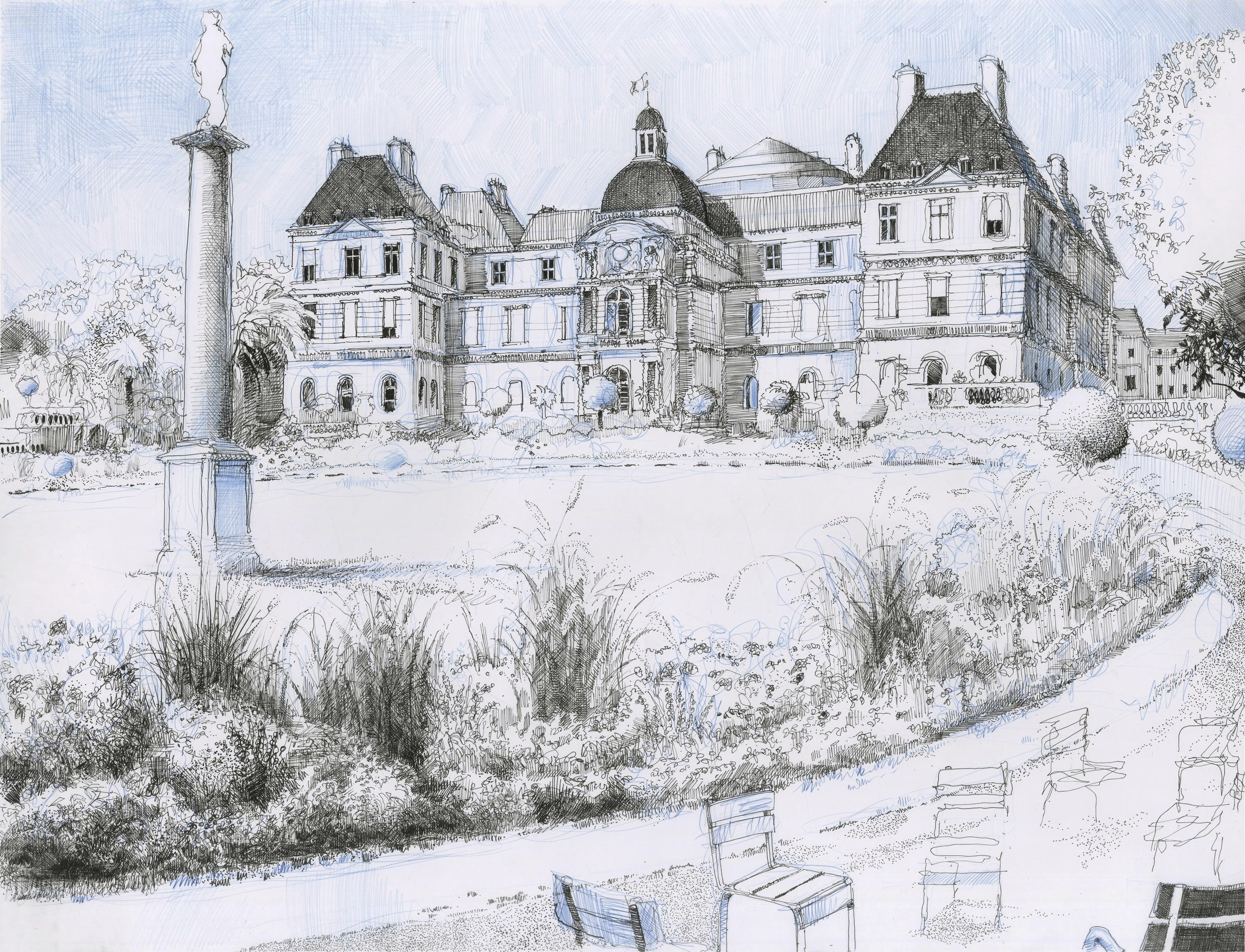 "Palais du Luxembourg,  2016, ink and blue lead on paper, 20"" x 27"""