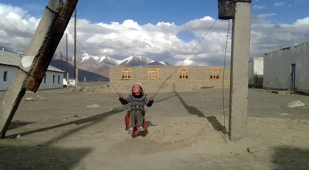 Improvised swing set, Tajikistan