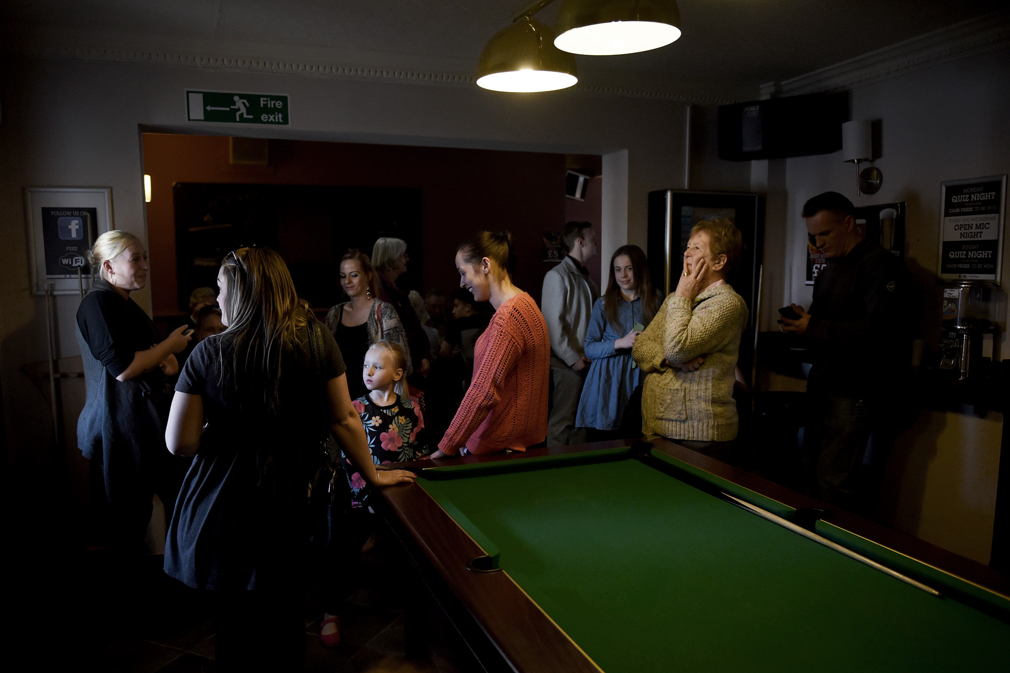 Local people wait in vain for Nigel to arrive at The Hope & Anchor pub, Grimsby, April 8th 2015