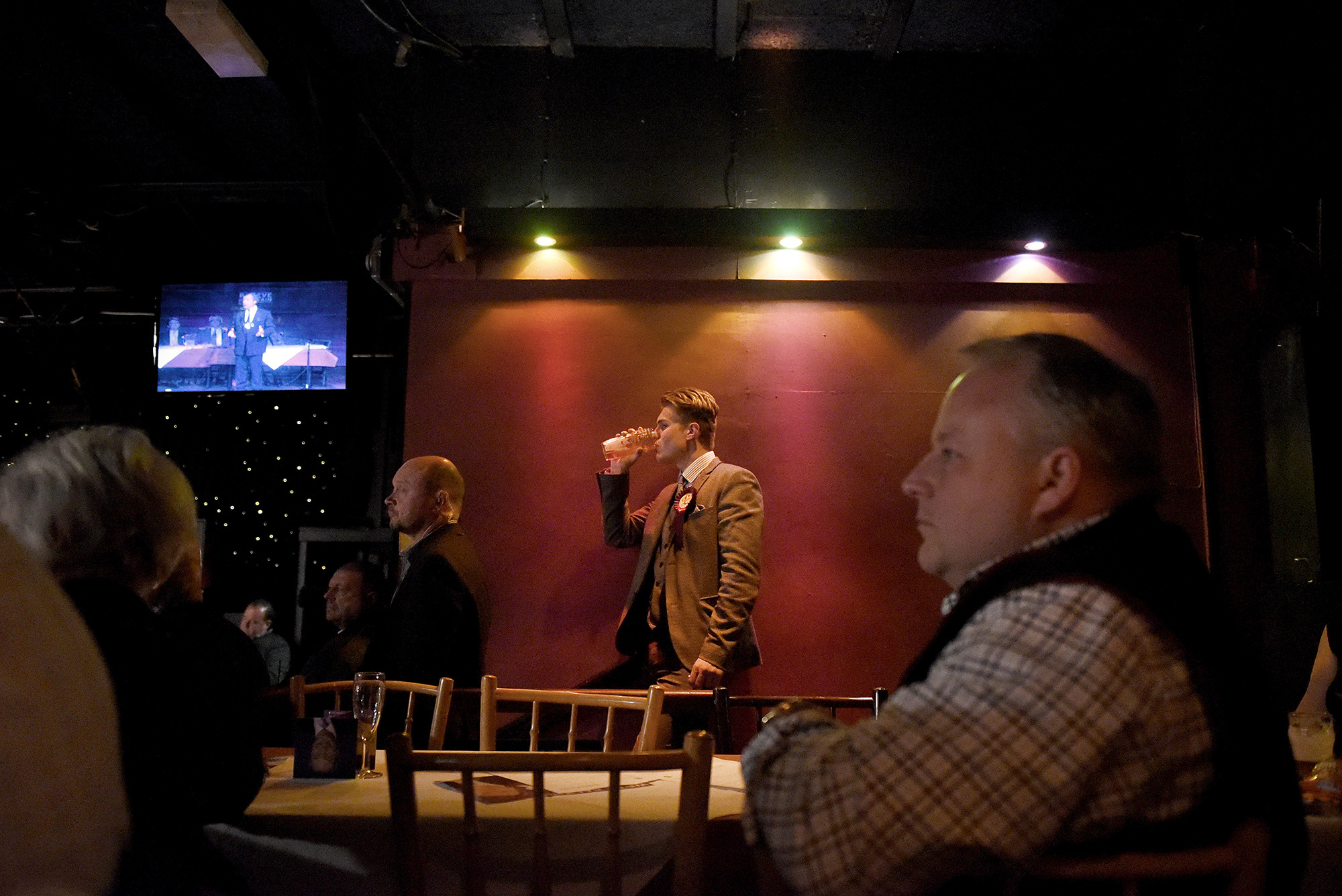 Audience during a public meeting, The Circus Tavern, Purfleet, Essex, April 13th 2015