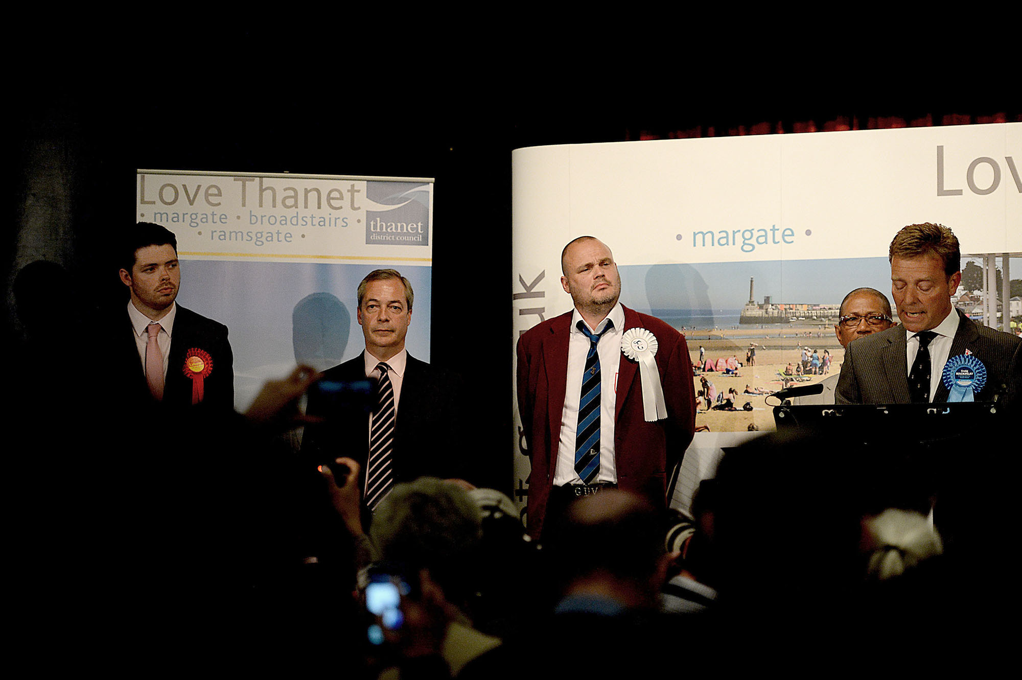 On stage at the Winter Gardens as the South Thanet election results are revealed, May 8th 2015