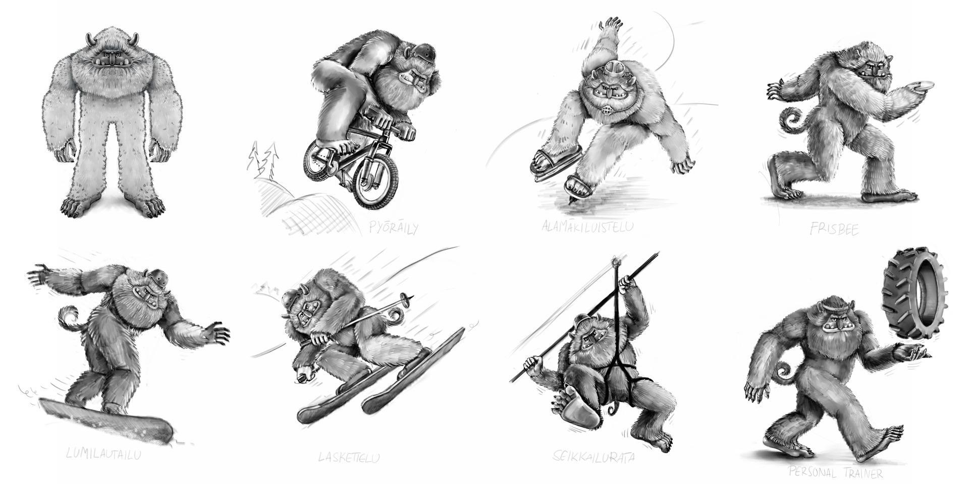 Hahmo seikkailee Laajiksen eri aktiviteeteissa. Luonnokset toteuttiin digitaalisena, työkaluina Corel Painter ja Wacom Cintiq.