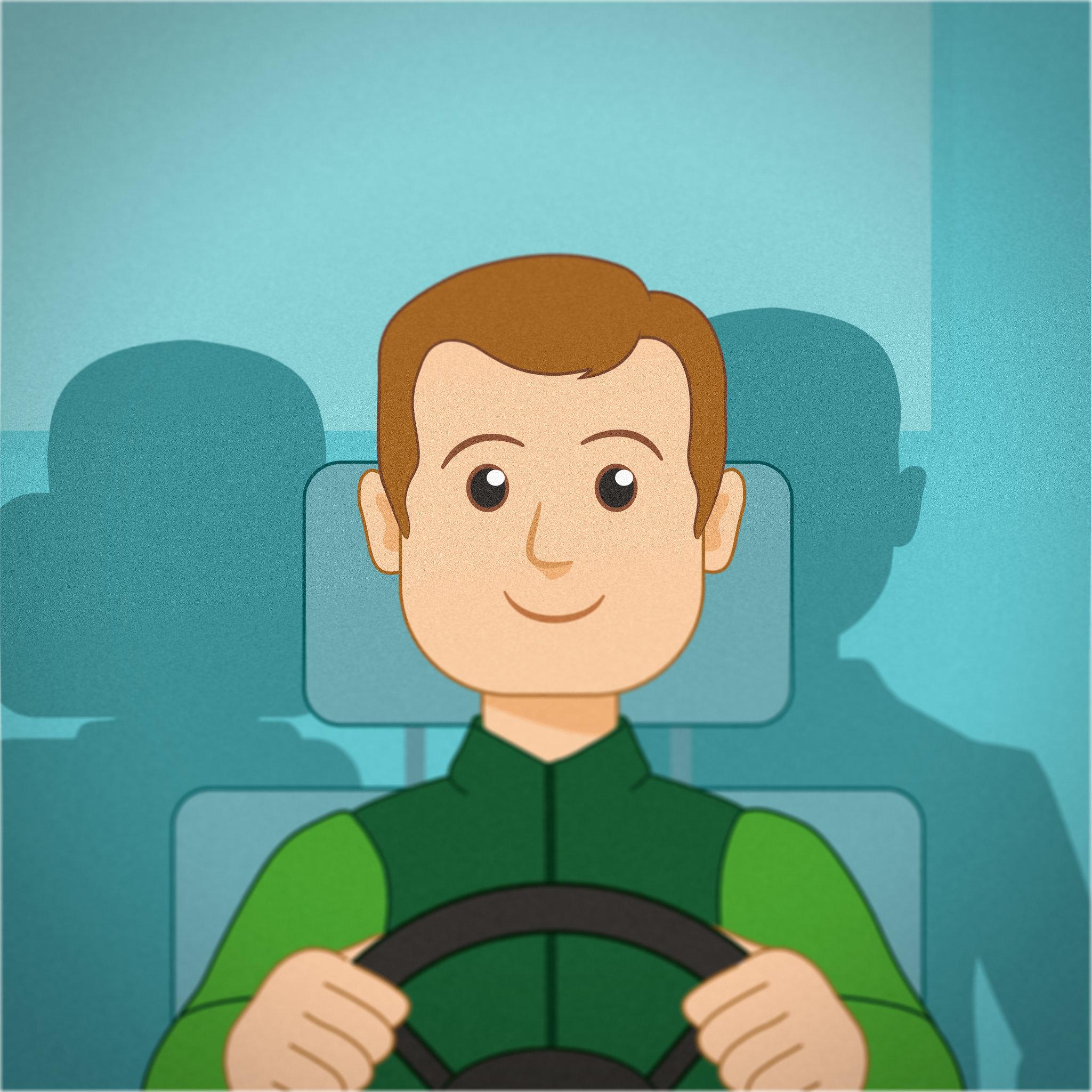 Linkki-bussin kuljettaja -kuvituskuva.