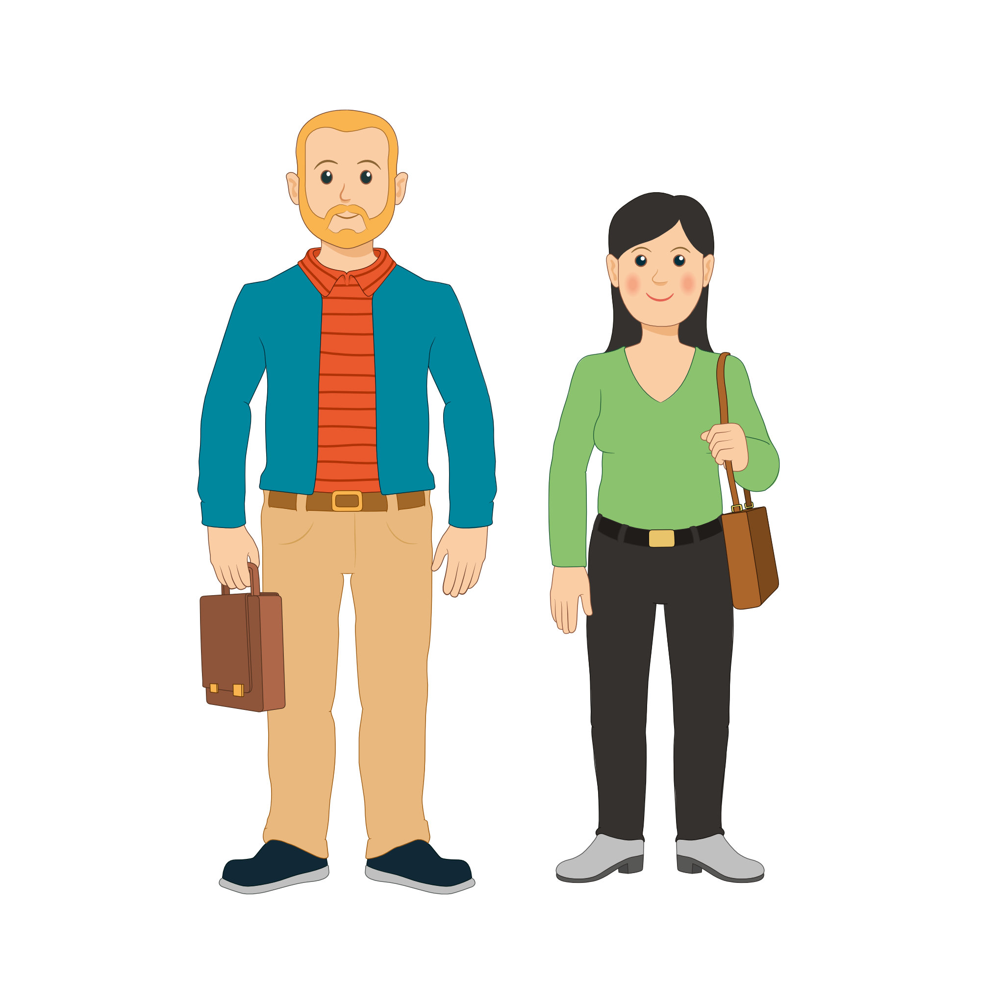 Linkki-matkustajia: aikuinen mies ja nainen
