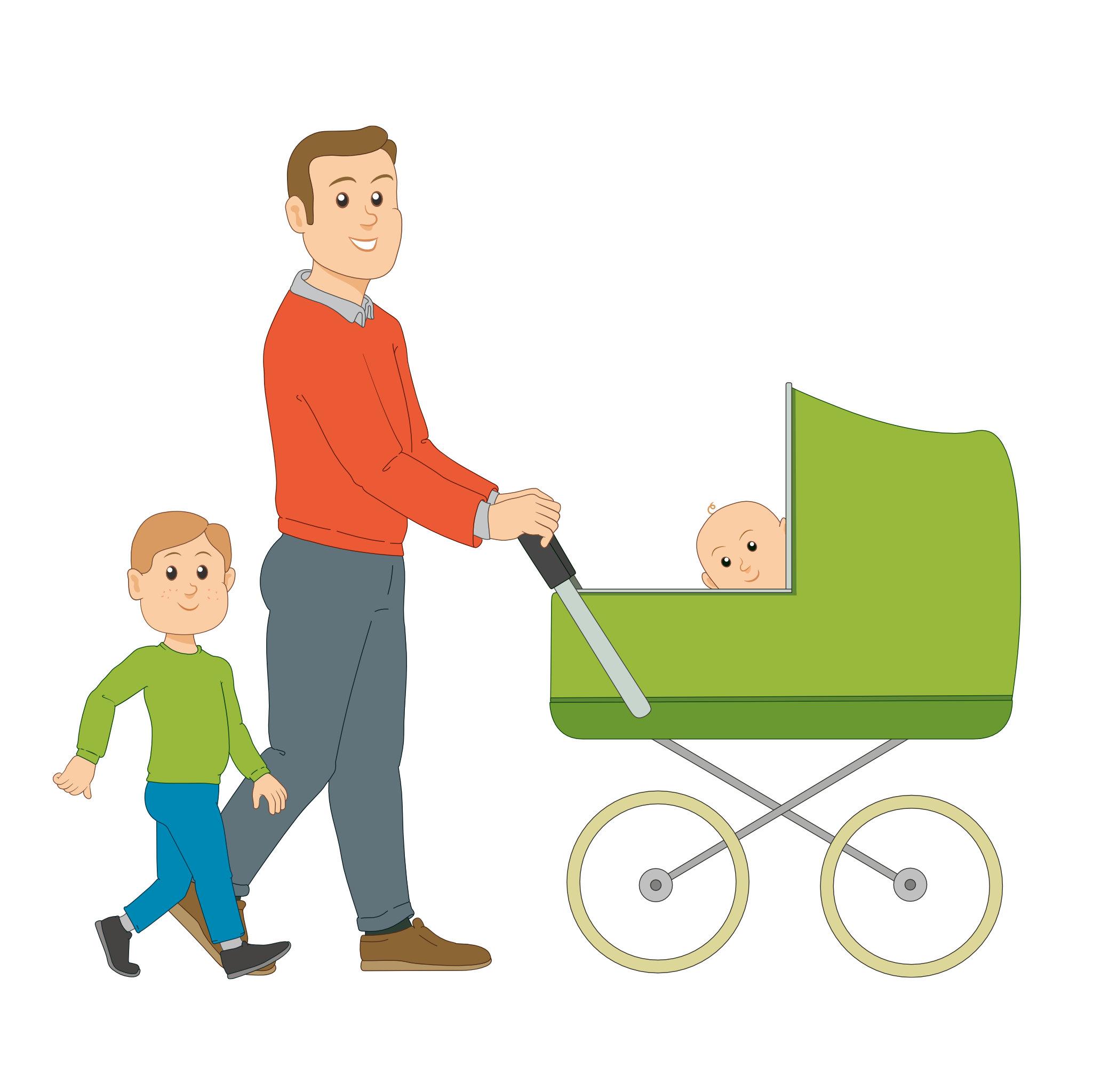 Linkki-matkustajia: isä ja lapset