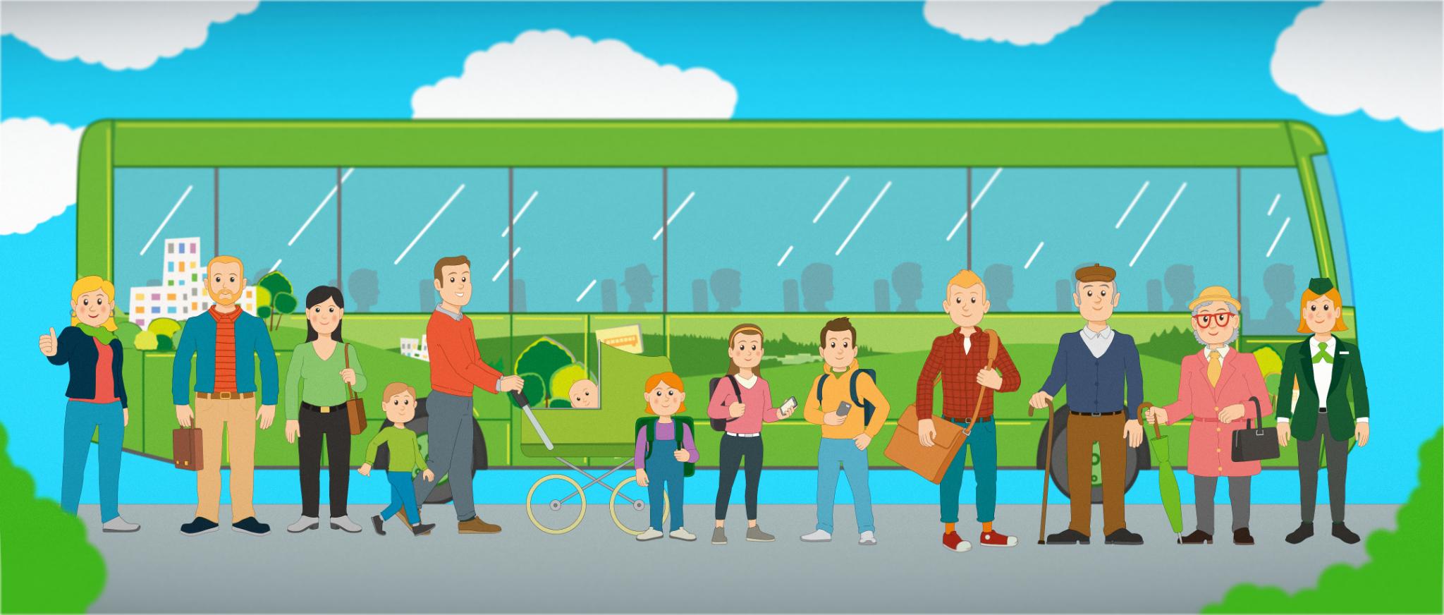Linkki-bussi ja matkustajat.