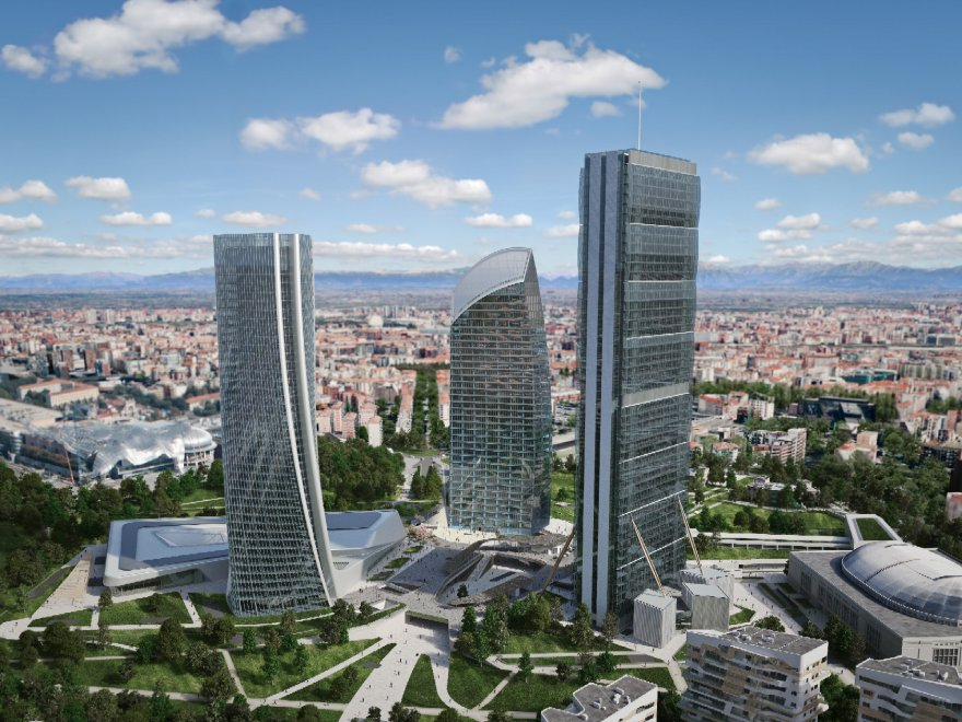 The new City Life area and its three towers.