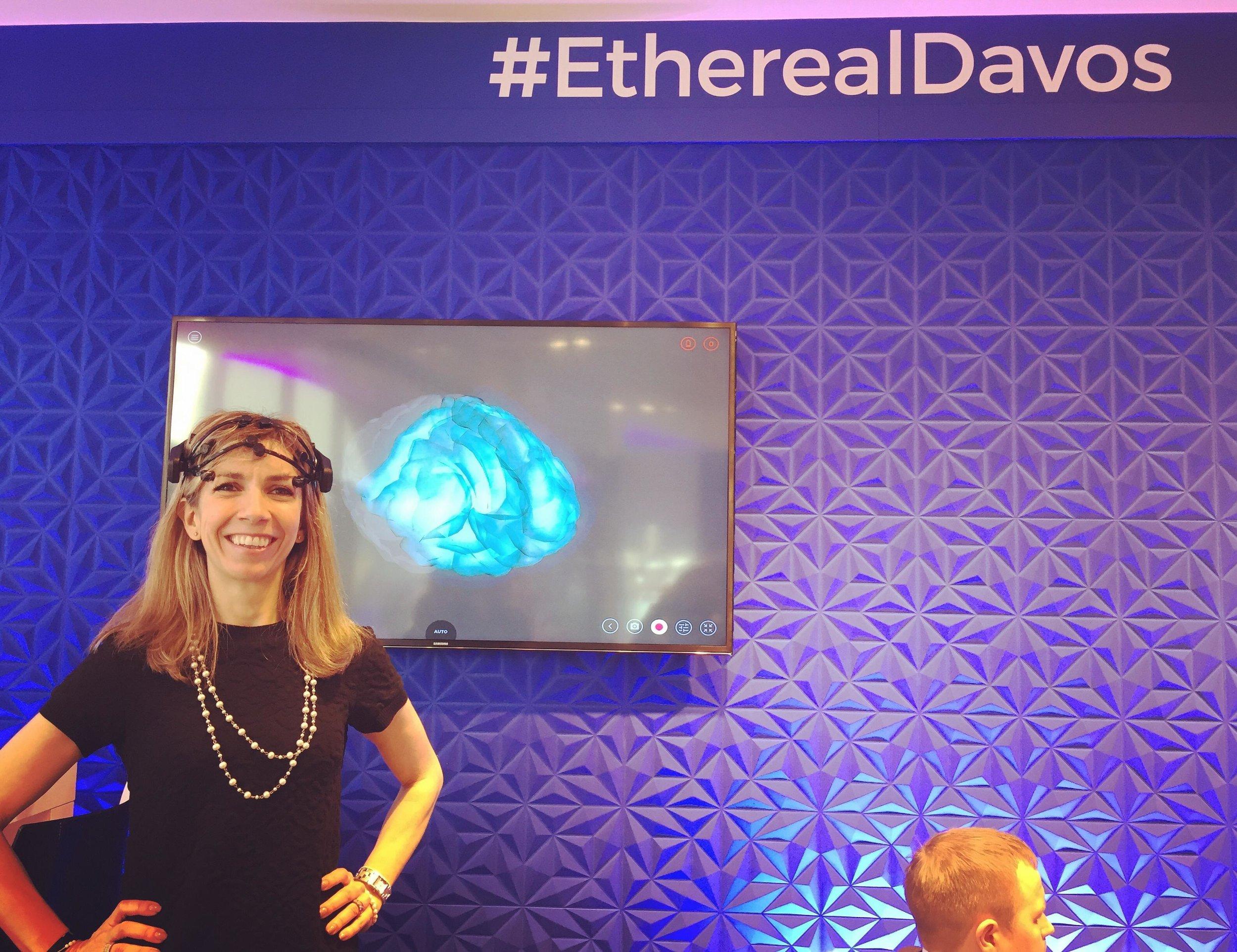 "Manuela Andaloro testing the ""DavosBrains"" headset. Davos, January 2018"