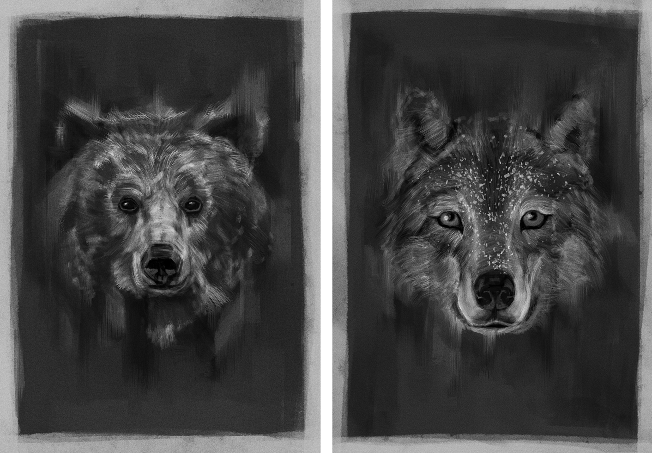 Bear & Wolf Painting