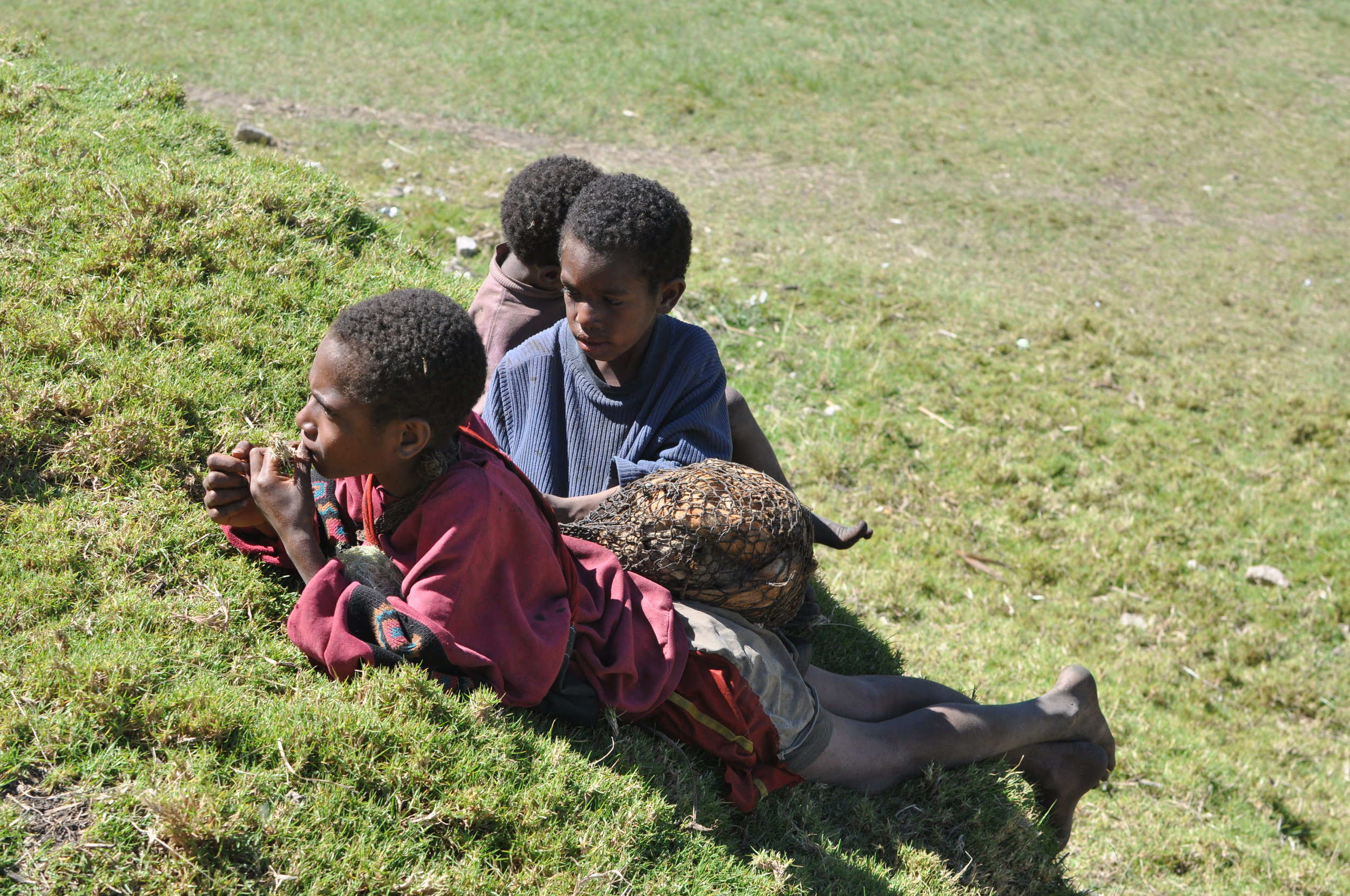 Boys on a hillside in the village center, with a netbag of sweet potatoes. Gua, 2009.