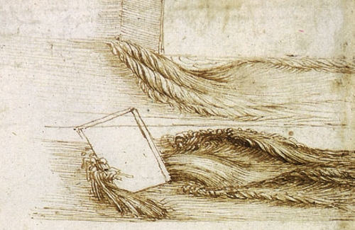 Detail from 'Studies of water passing obstacles and falling' (c. 1508-9), one of Leonardo's many studies of the dynamics of water.