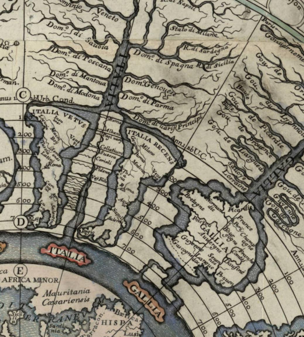 Detail from Girolamo Andrea Martignoni's 1718 chronographic map of the history of the Roman empire,  Imago Romani imperii .