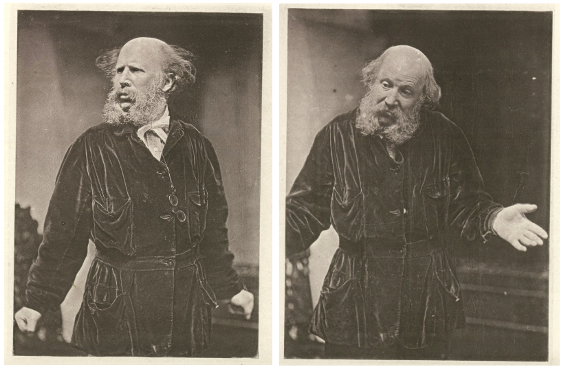 """Two figures from Plate VI of Darwin's  Expression  (1872). On the left, the man models an """"indignant"""" posture; on the right, he models a full-body shrug display."""