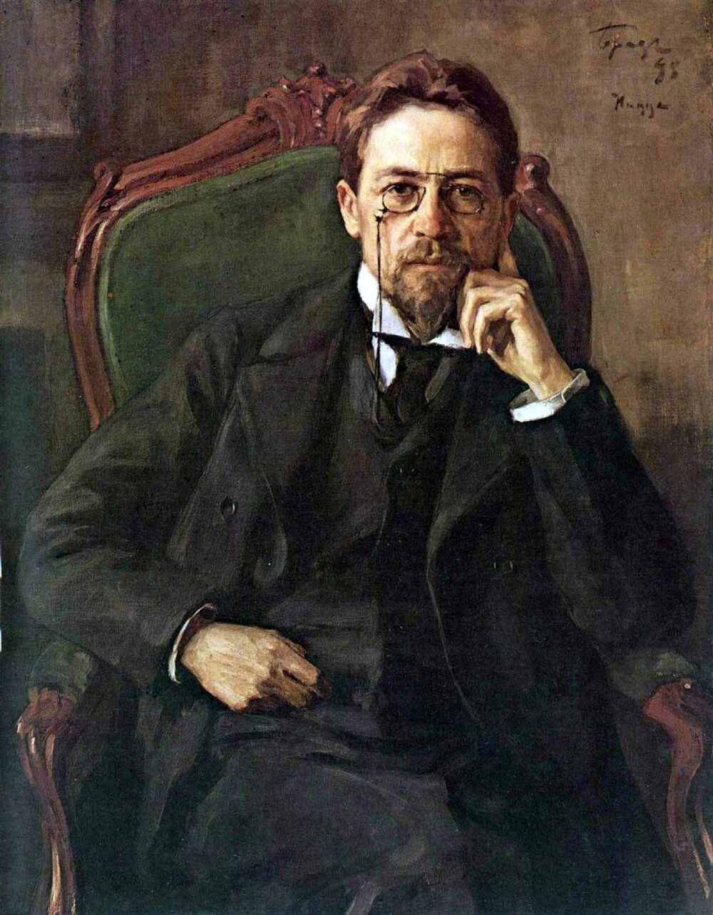 A portrait of Anton Chekhov (1860–1904), painted by Osip Braz in 1898.