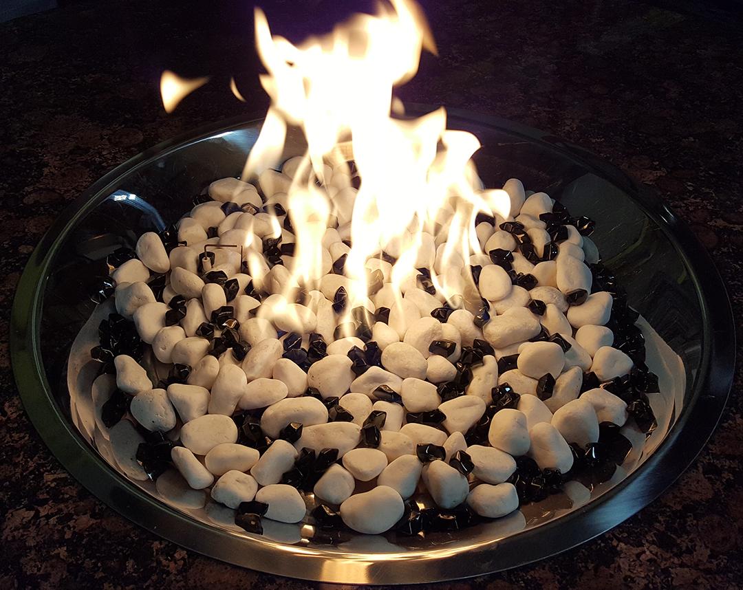 White marble  stone sprinkeled with diamond onyx burning