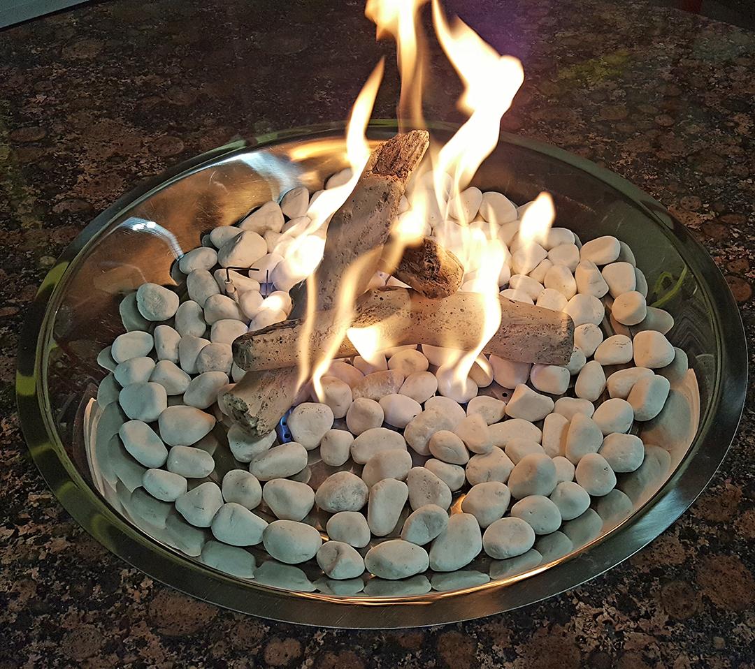 White marble stone & key largo driftwood twigs burning
