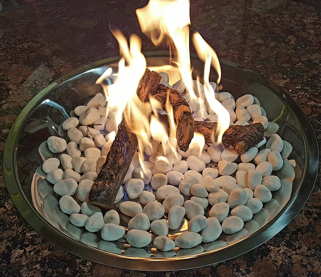 White marble stone & mountain tember burning