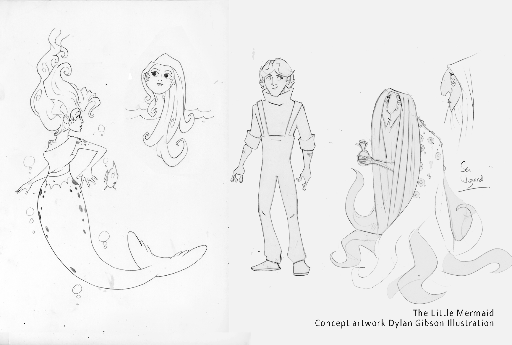 Concept illustrations for the little mermaid.