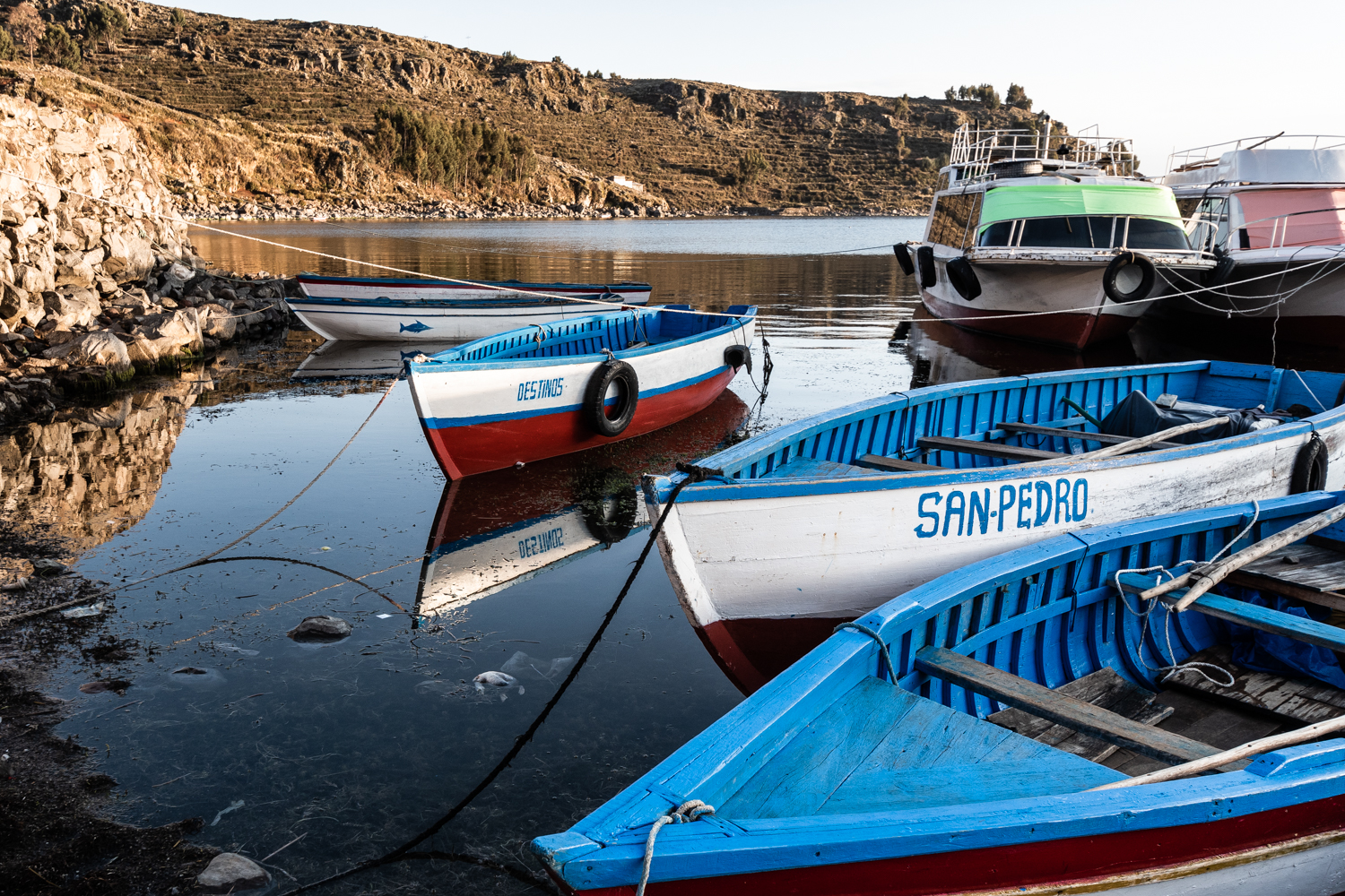 Boats await more prosperous times to sail, at the moment there is not much fish to catch.
