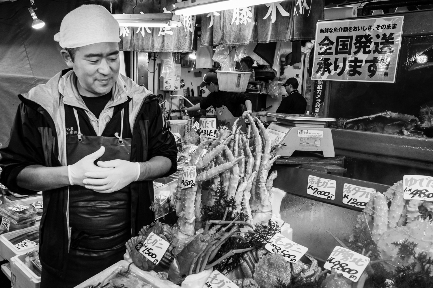 One of the many retailers at the outer market, selling any kind of fish and shellfish.