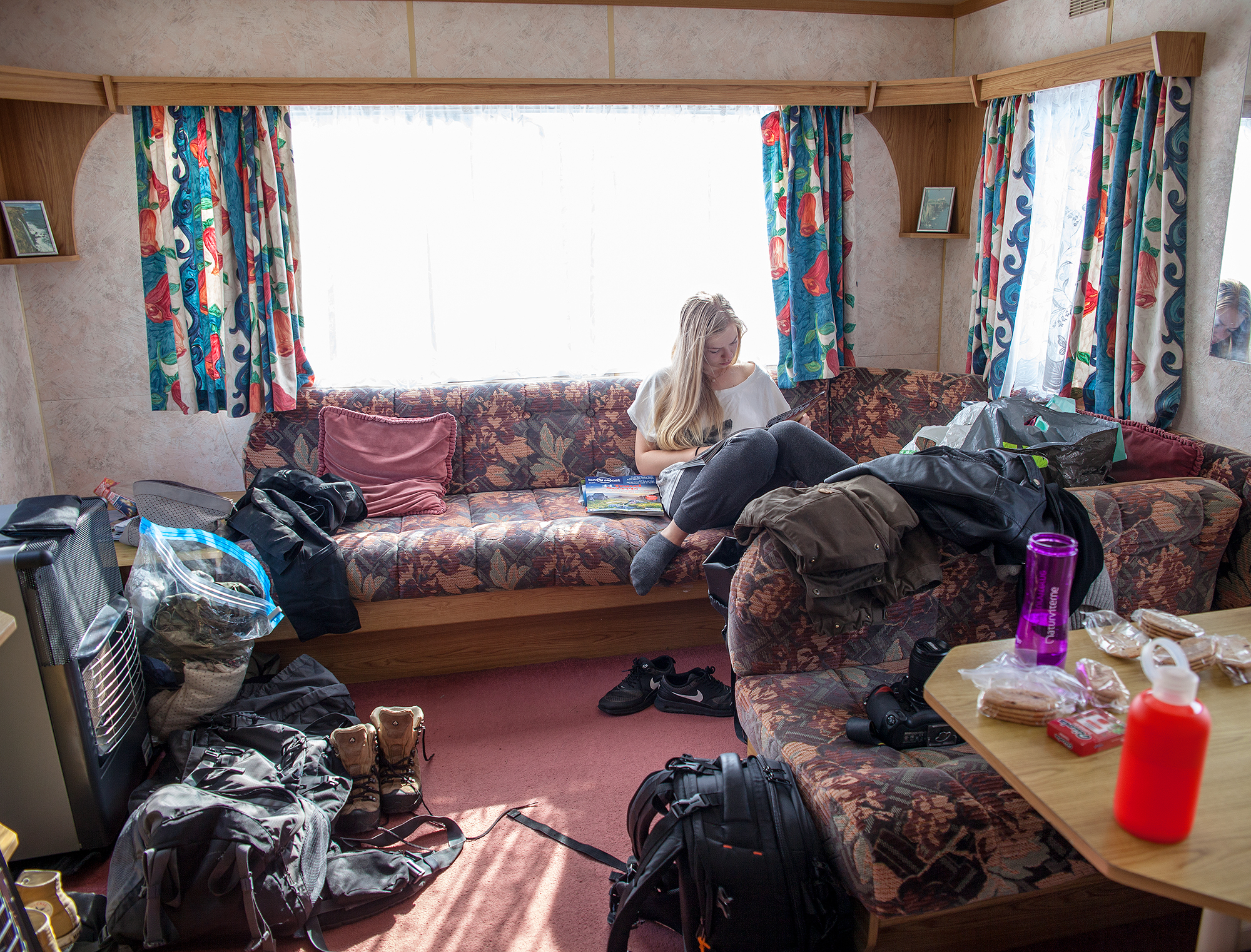 Our utterly glamorous caravan home. Photo by Siv