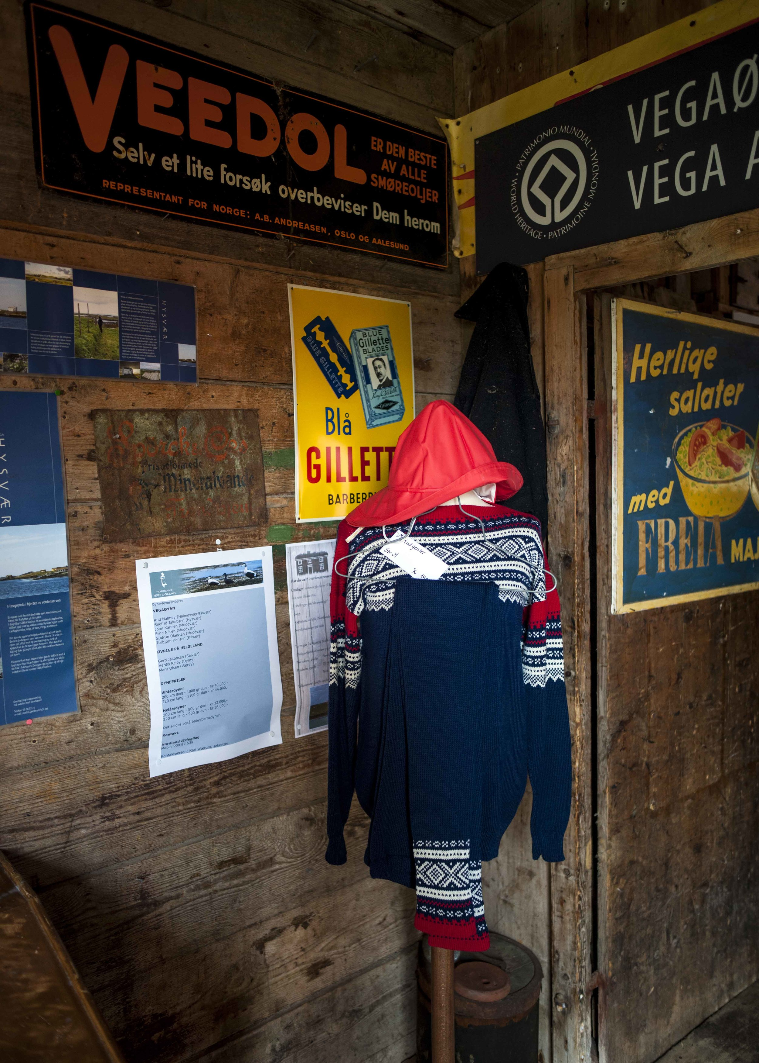 'Traditional' knitted jumper for sale in E-huset museum on Vega