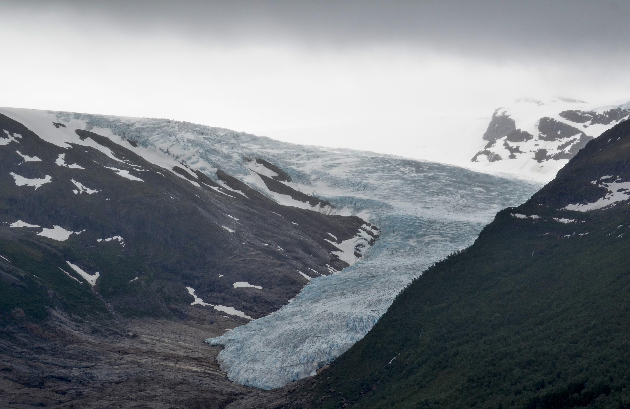 Svartisen glacier climbing over the mountain