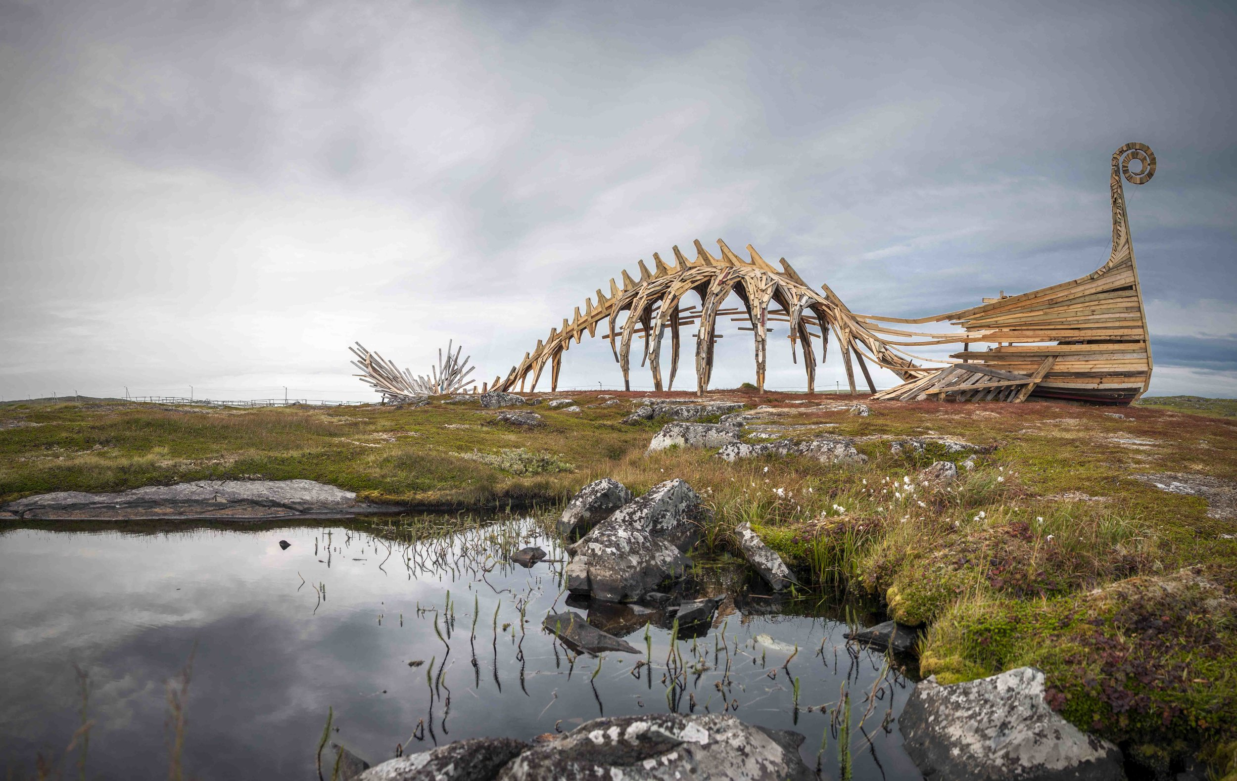 Made viking ship dragon whale in Vardø made by Russians from Arkhangelsk