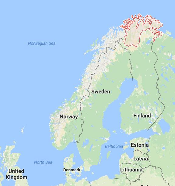 Map over Scandinavia. Finnmark county in red. Map from google maps
