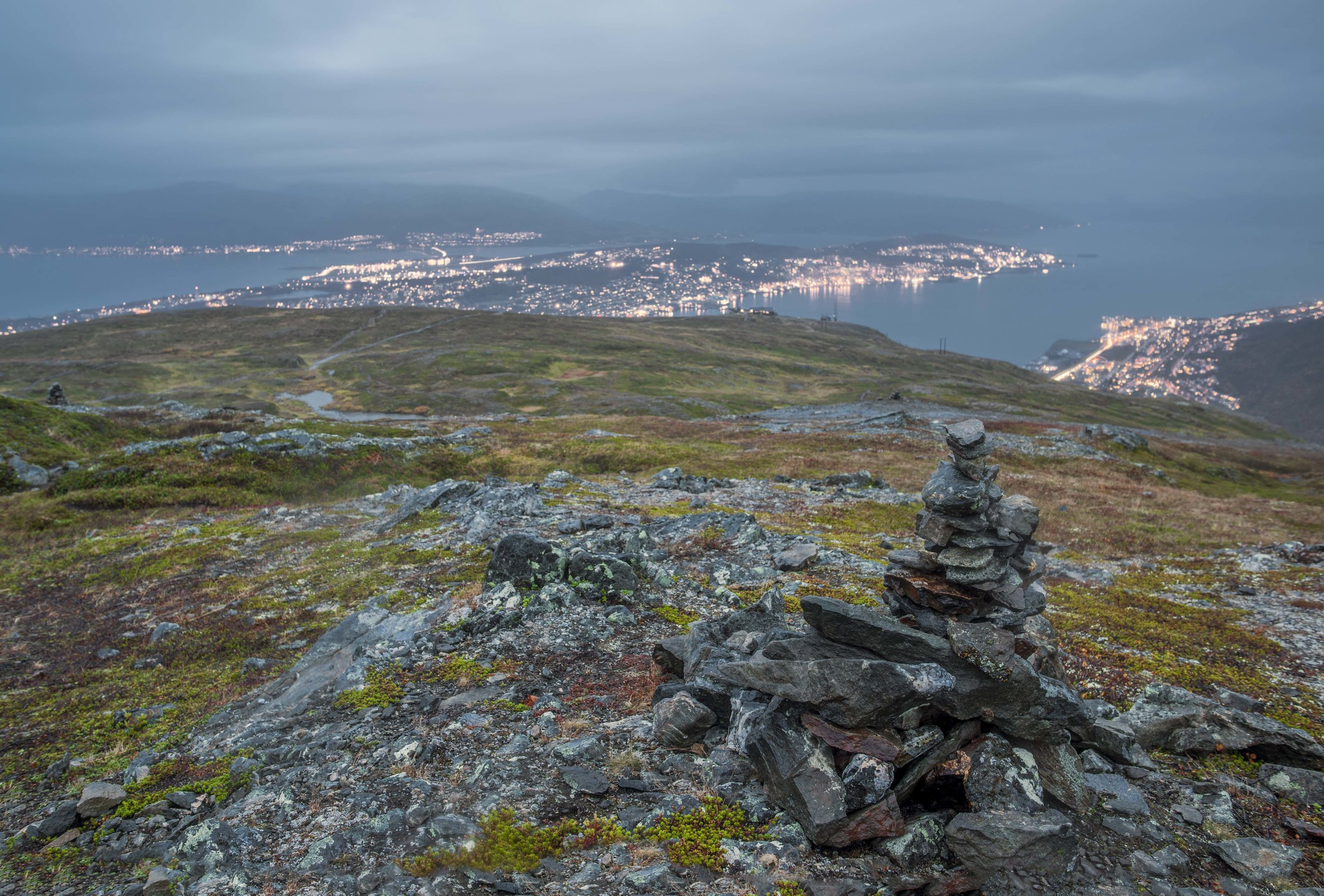 The one day we had time to go for a little hike in Tromsø, we got rain and fog...