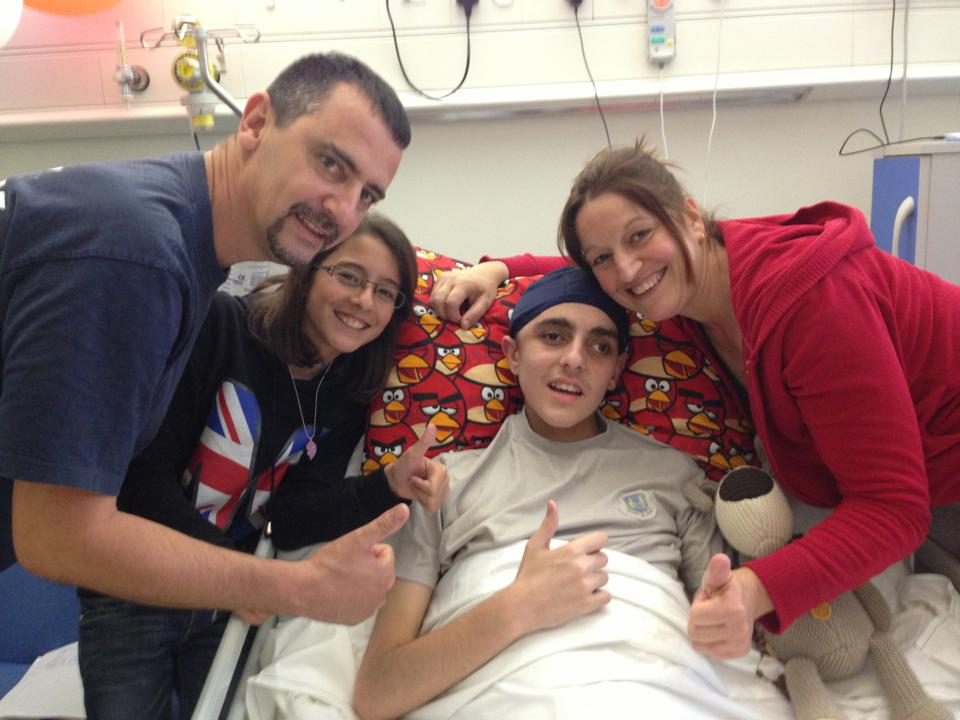 The Cachia family when Jacob was in hospital in 2013