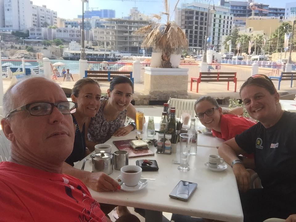Breakfast with friends after our pre-race training