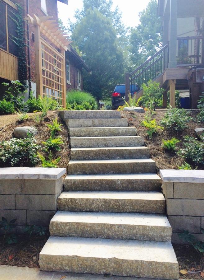 Cut stone staircase