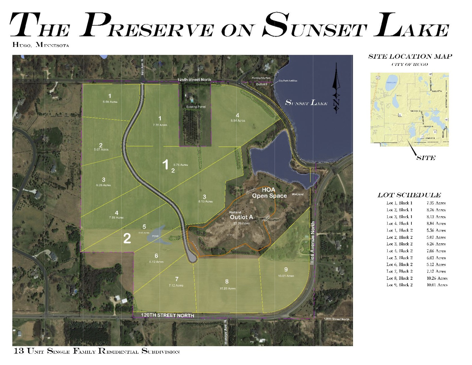 New, proposed development in eastern Hugo and Mahtomedi Schools. This parcel is 137 acres with 13 proposed lots and shows how land can be developed at a smaller lot size than is allowed in the zoning code. These parcels are classified as rural residential according to the City zoning map, which is 1 parcel of land per 10 acres. As you can see, most of these lots are less than 10 acres. However, if you take the total acreage of 137 acres and divide by the number of platted lots (13), it works out to a density of 1 lot per 10 acres. The City allows this because it satisfies the density requirements per the zoning code. Additional land is set aside as an outlot or common space. All lots are required to have a minimum of 300 feet of road frontage either on the road and cul de sac that the developer is building or on 120th Street. Lot prices are from $250k - $379k with the builder Parent Custom Homes and sold by Edina Realty.  The development has been approved by the City council.