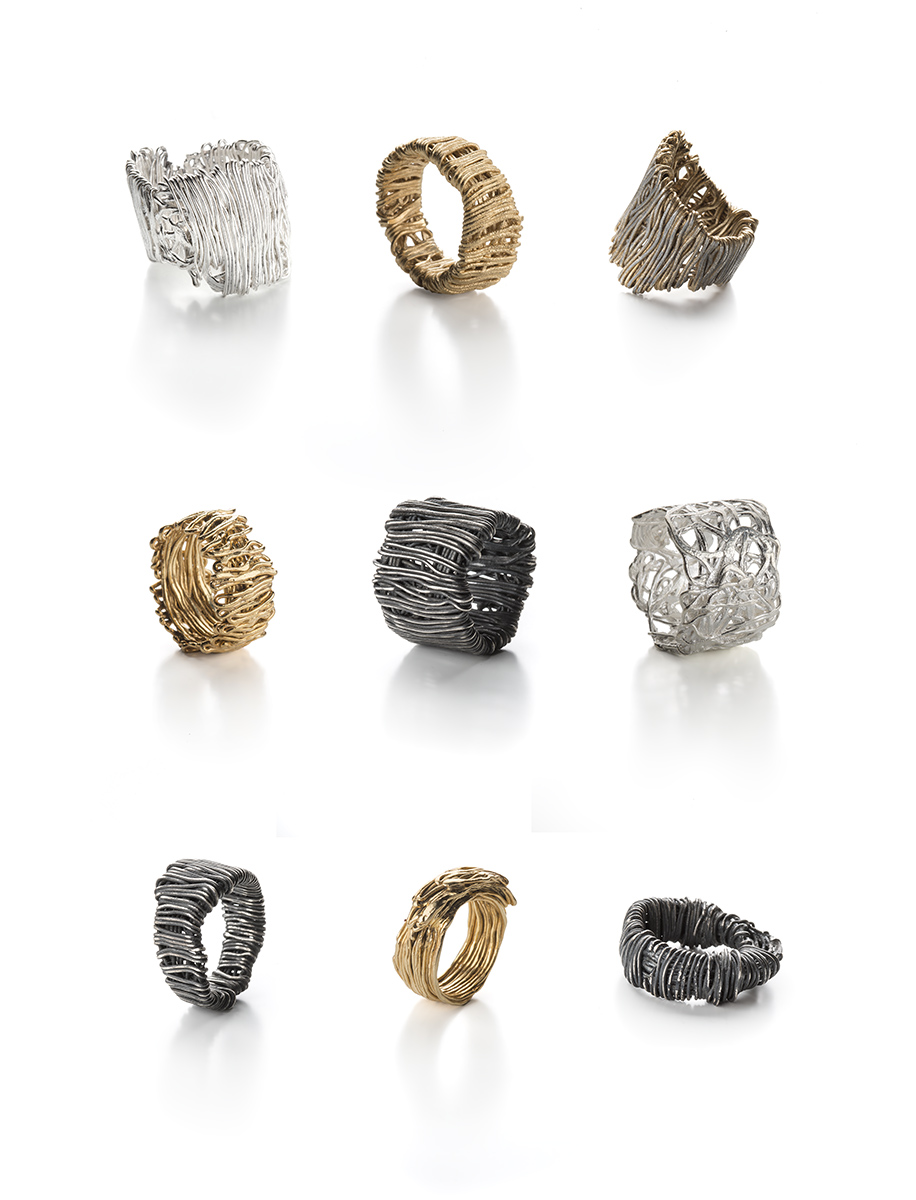 """Francesca Urciuoli, """"Patched"""" and """"Knotted"""" rings  Oxidised silver, silver, gold plated silver,photo: Federico Cavicchioli"""