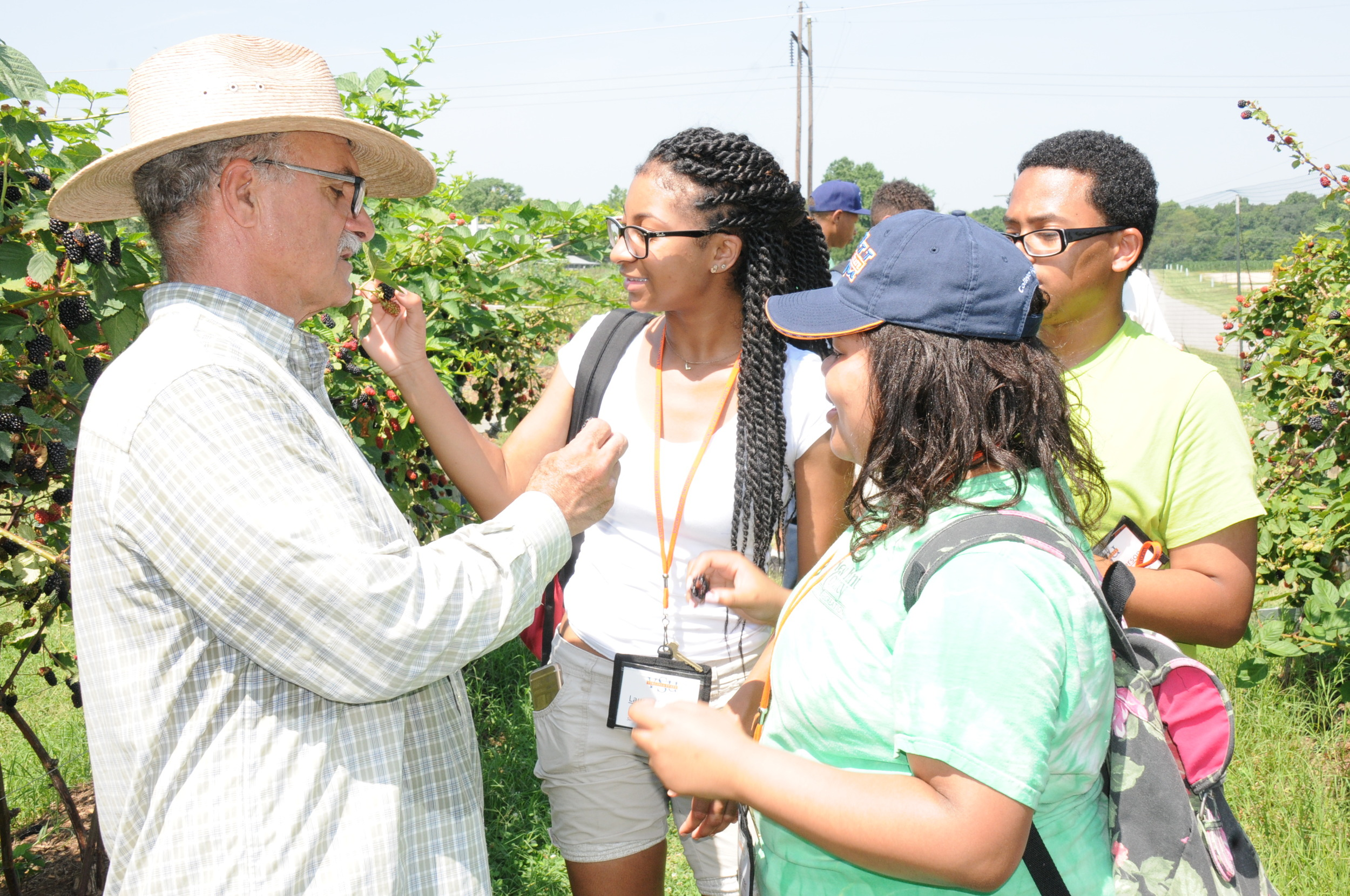 Extension Specialist Dr. Reza Rafie gives high school students insights on berry farming during the 2015 summer enrichment program.
