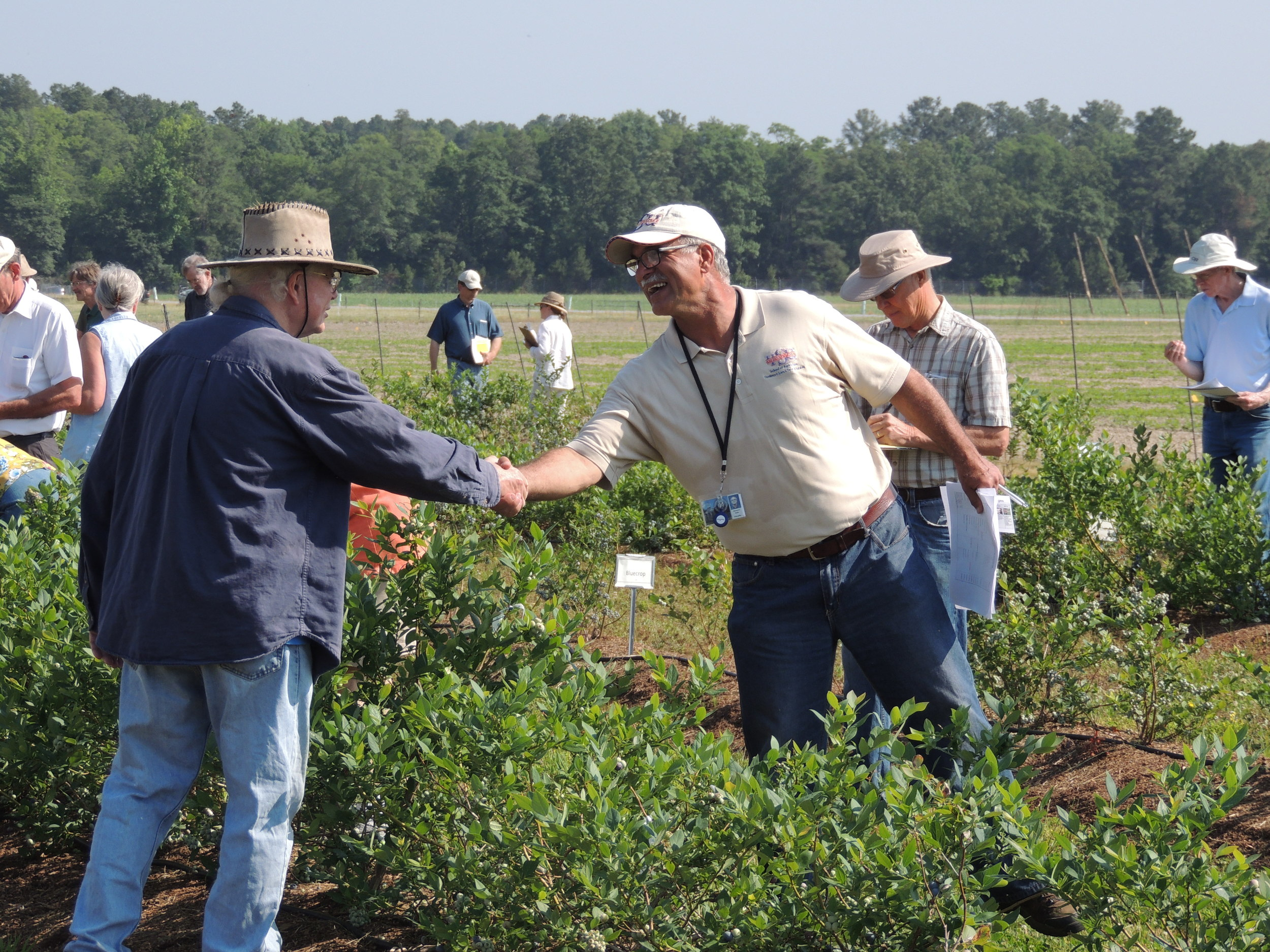 Extension specialist Dr. Reza Rafie welcomes a farmer to Virginia State University's Randolph Farm to learn more about growing blueberries in Virginia.