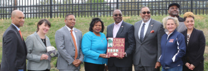 (From left to right) VSU Provost, Dr. Donald E. Palm; VA Secretary of Agriculture and Forestry, Bettina Ring; Special Asst. to the President, Osubi Craig; Virginia Senator Rosalyn Dance; VP for Finance, Kevin Davenport; VP for Research and Economic Development, Dr. Dale Wesson; Asst. VP Capital Outlay and Facilities, Jane Harris; VA Commissioner of Agriculture, Dr. Jewel Bronaugh; (behind) VSU College of Agriculture Dean/1890 Administrator, Dr. M. Ray McKinnie