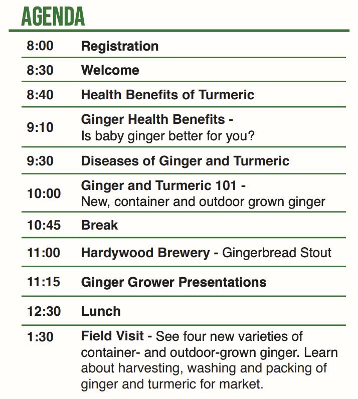 Ginger & Turmeric Field Day 2019 Agenda