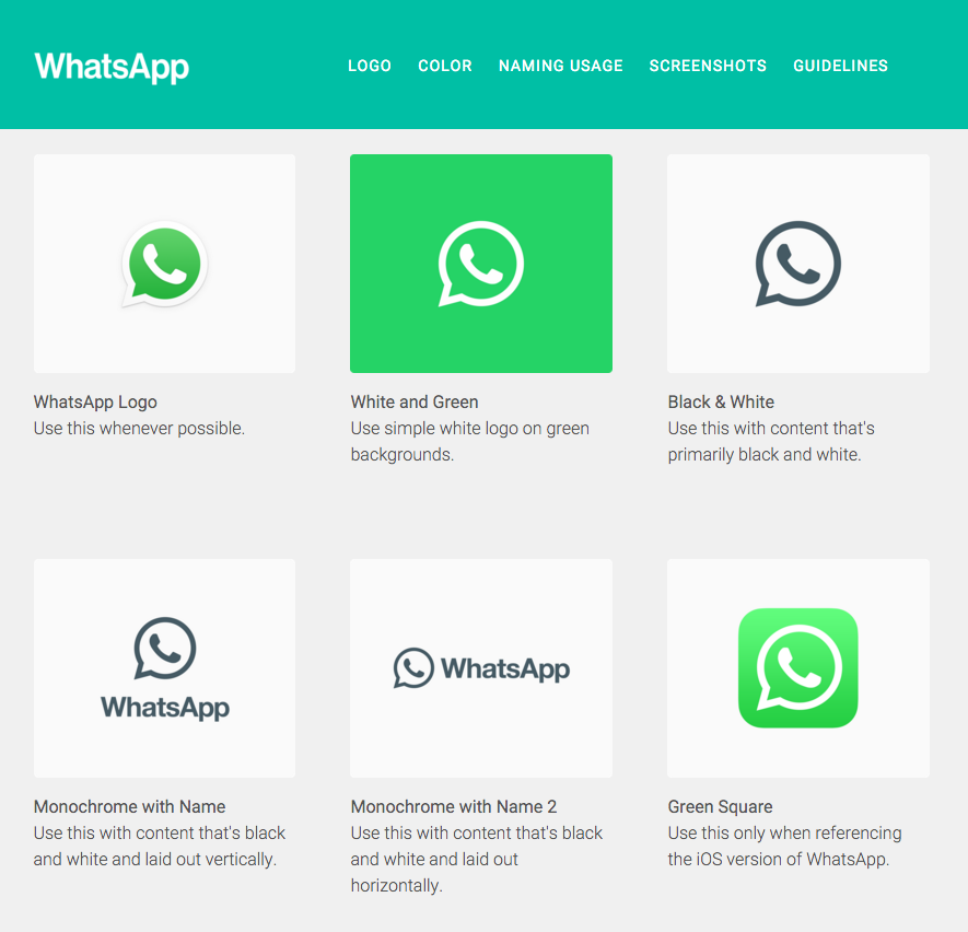 whatsapp style guide logo examples