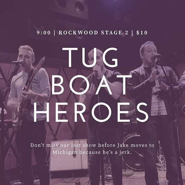 Don't miss the last (ever) Tugboat SuoerHeroes show. Tonight's the night.  Rockwood. Stage 2. Get em.  #newmusic #favoriteband #newfavoriteband #livemusic  #endofanera