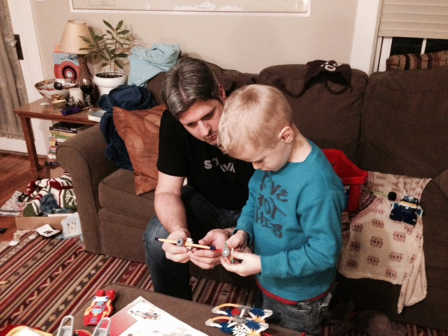 Andre and his nephew playing with K'nex