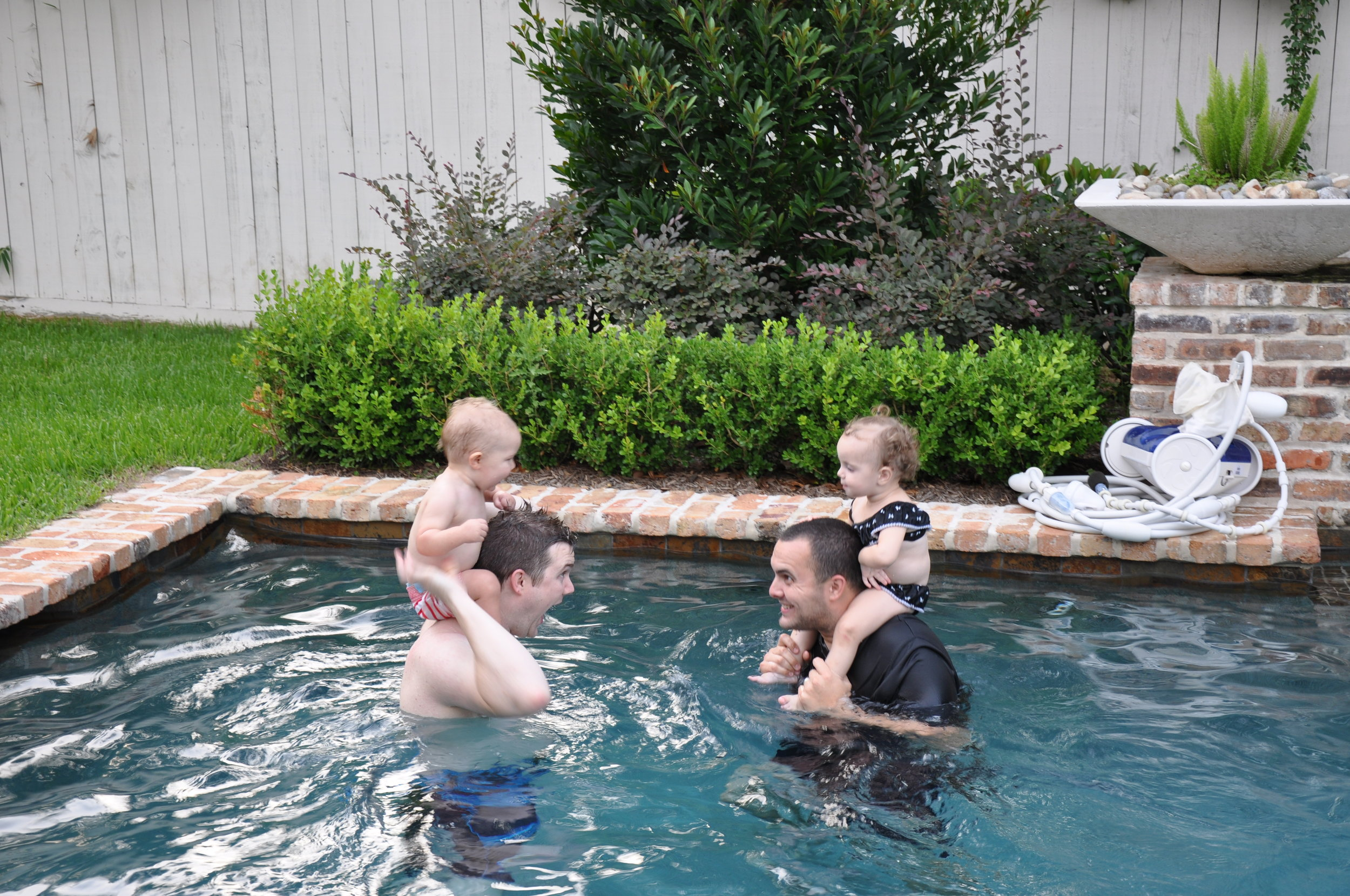 Chicken fights in our pool (Mercer and Jarret won!)