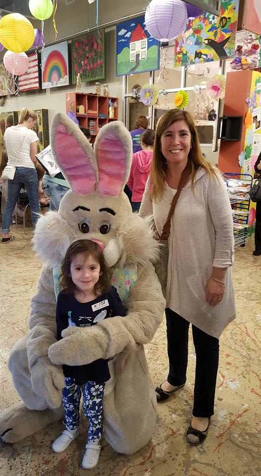 Meeting the Easter bunny at a local event