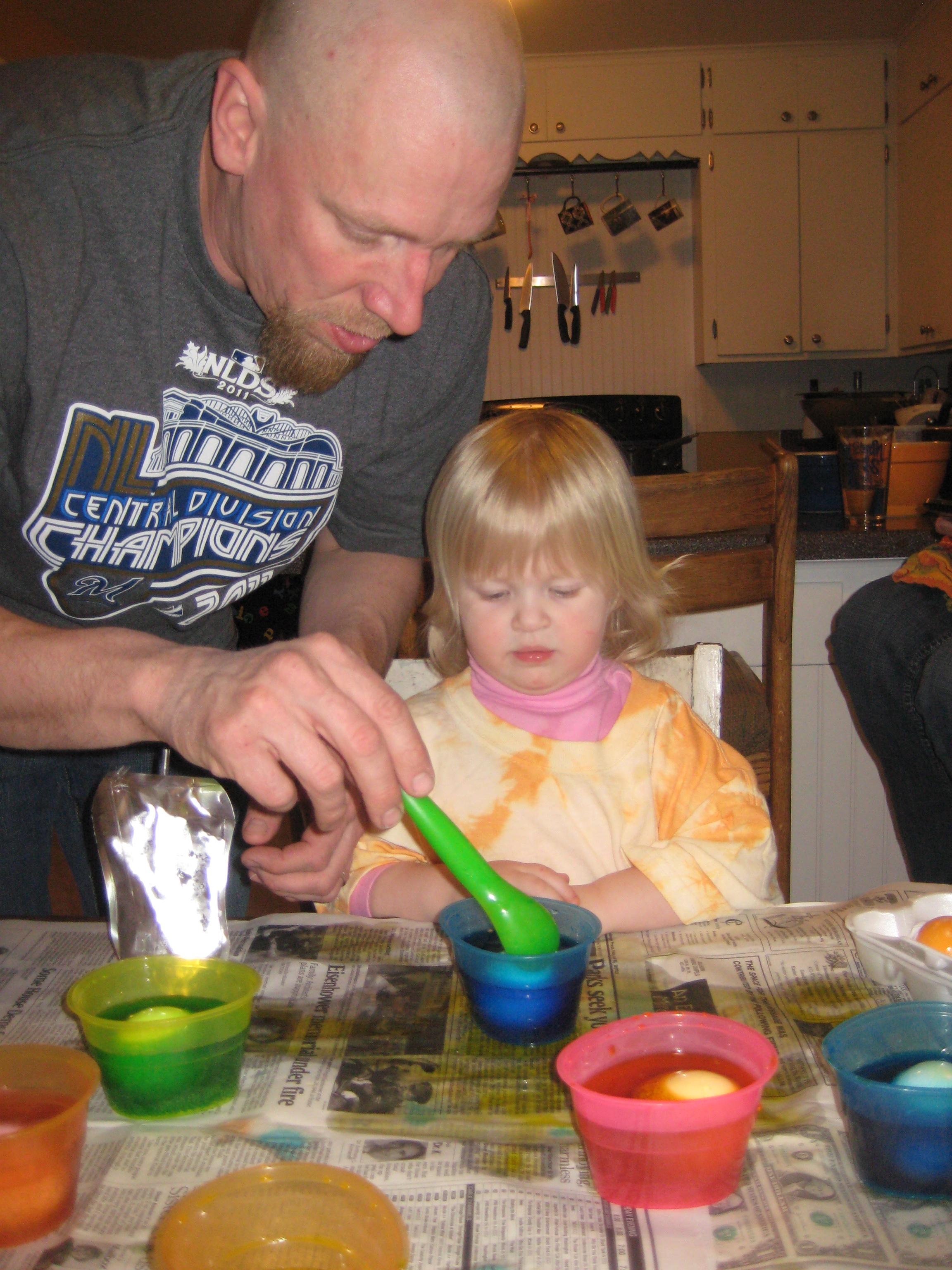 Helping dye Easter eggs