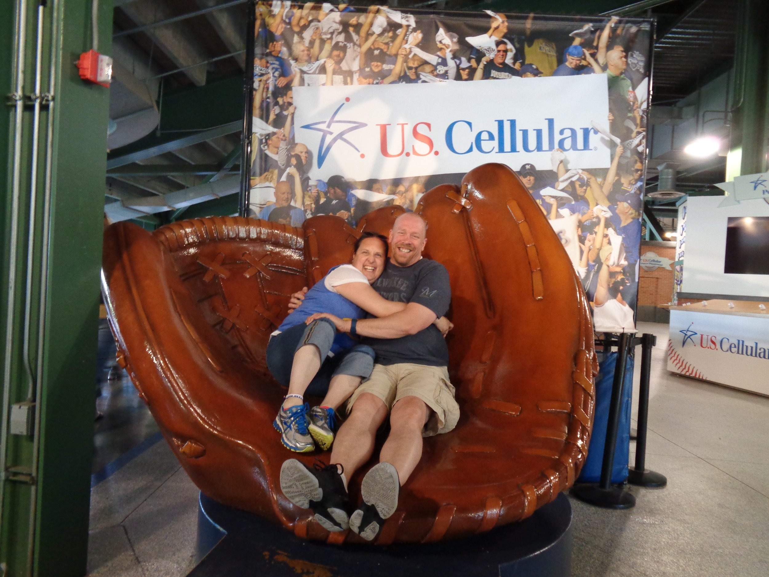 Chillin' in a giant baseball glove at the Brewers game